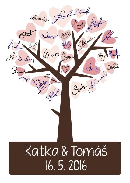 Svatební strom s podpisy svatebních hostů